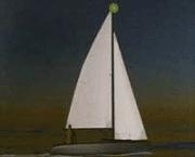 Zeilboot bij schemering